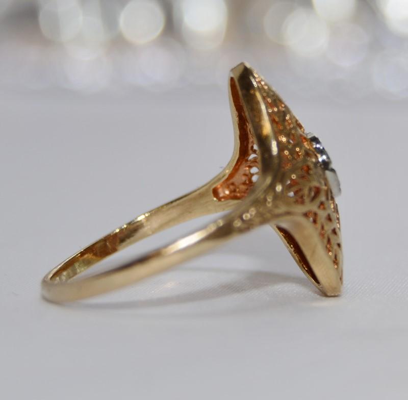 10K Two Tone Yellow & White Vintage Inspired Leaf Filigree Diamond Shield Ring
