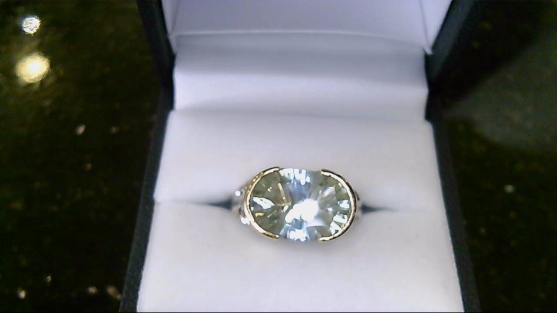 Lady's sterling silver 925 oval green amethest ring