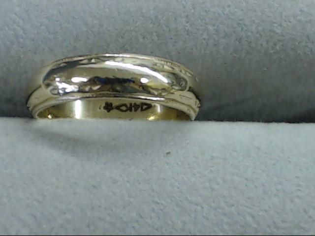 VINTAGE DECO WED RING BAND SOLID REAL 14K GOLD ETERNITY DESIGN 6.75