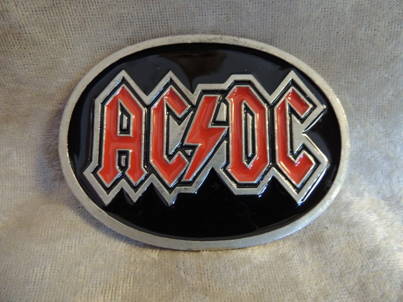 AC DC AC/DC Belt Buckle 70s Hard Rock Heavy Metal Back In Black
