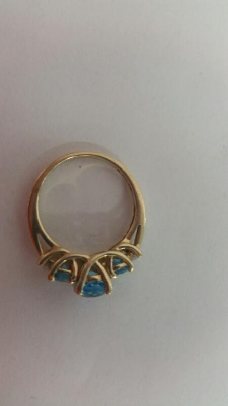 Lds 10K-Y/G Stone&diamond Ring