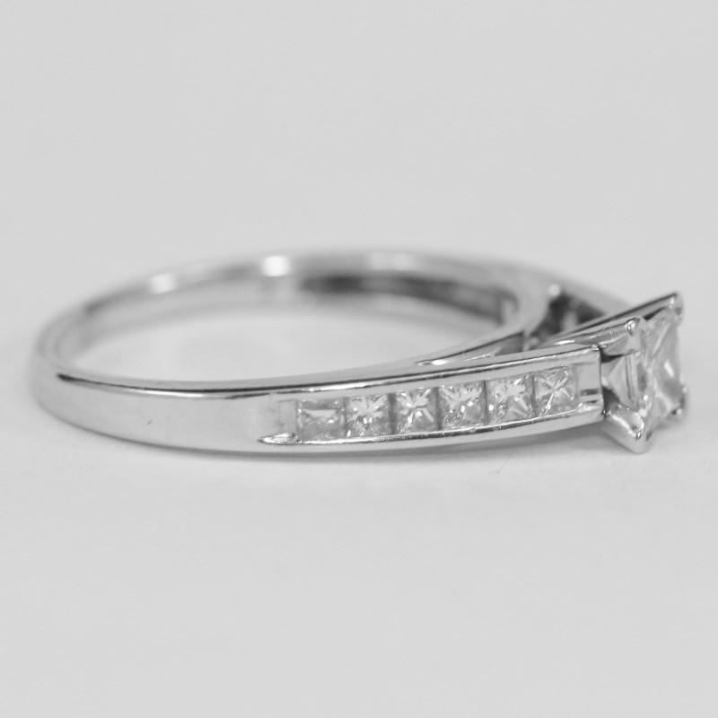 14K White Gold Channel Set Princess Cut Diamond Ring Size 8.3