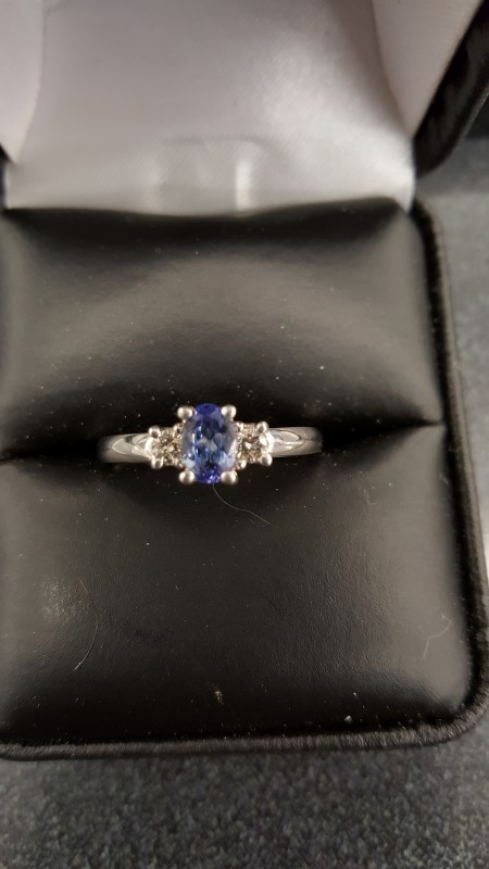 Blue Stone Lady's Stone & Diamond Ring 2 Diamonds .14 Carat T.W. 10K White Gold