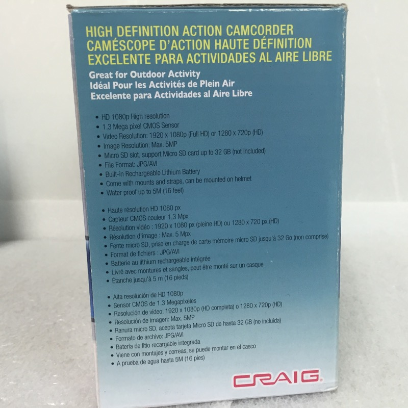 CRAIG High Definition Action Camcorder CCR9024