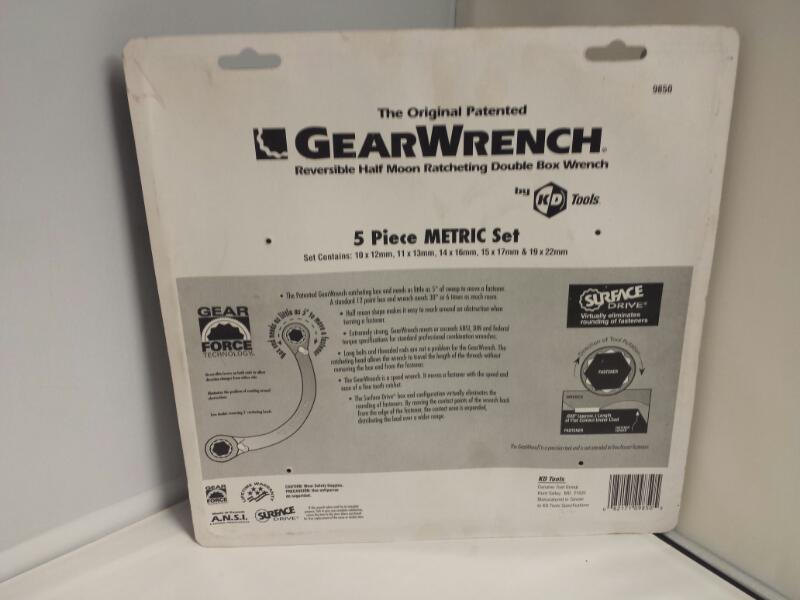 GearWrench 9850 Metric Half Moon Double Box Ratchet Set 5pc
