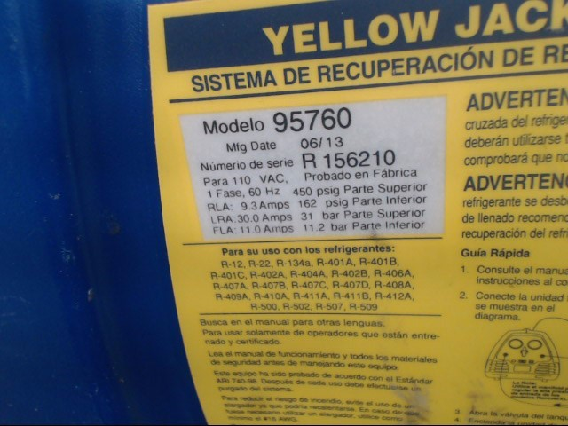 YELLOW JACKET Refrigerator/Freezer 95760