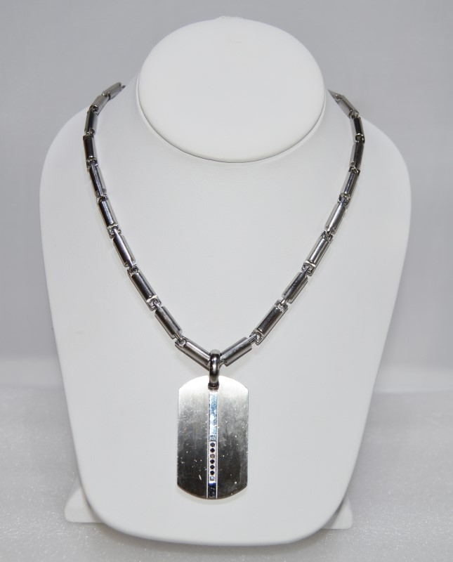 """36"""" Stainless Silver Necklace w/ 7 Stone Dog Tag Pendant"""