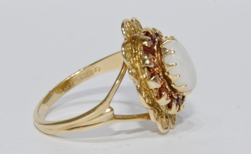 10K Yellow Gold Vintage Inspired Split Shank Opal & Garnet Filigree Ring Size 7
