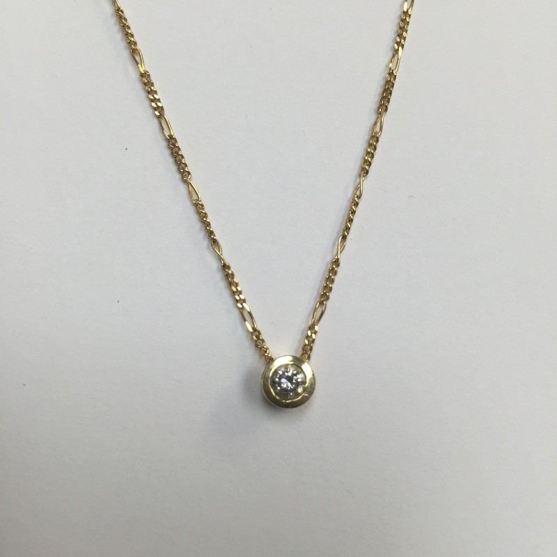 "16"" Diamond Necklace .18 CT. 14K Yellow Gold 1.6dwt"