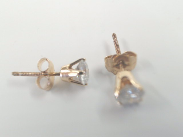 VINTAGE DIAMOND SOLITAIRE STUD EARRINGS SOLID 14K GOLD SCREW POSTS