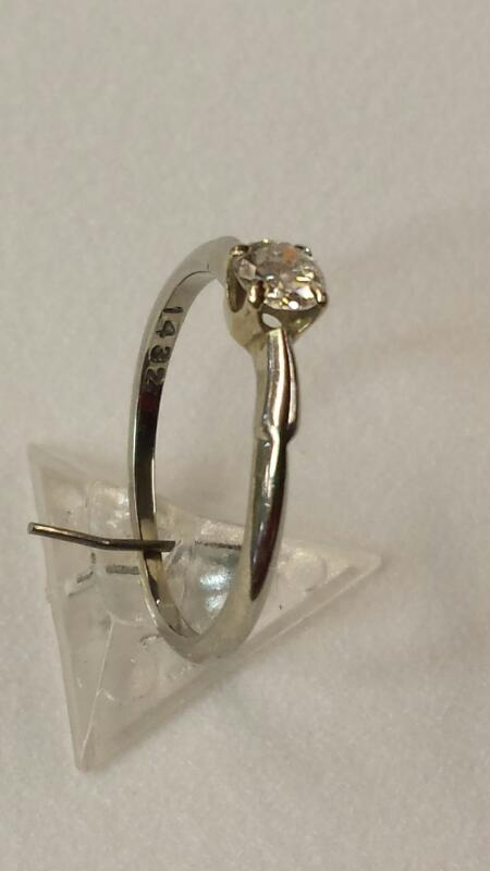 Lady's Diamond Solitaire Ring .23 CT. 18K White Gold 1.14dwt