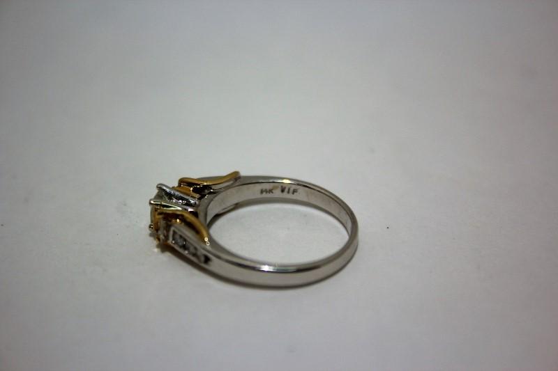 Lady's Diamond Engagement Ring 9 Diamonds .71 Carat T.W. 14K 2 Tone Gold 4g