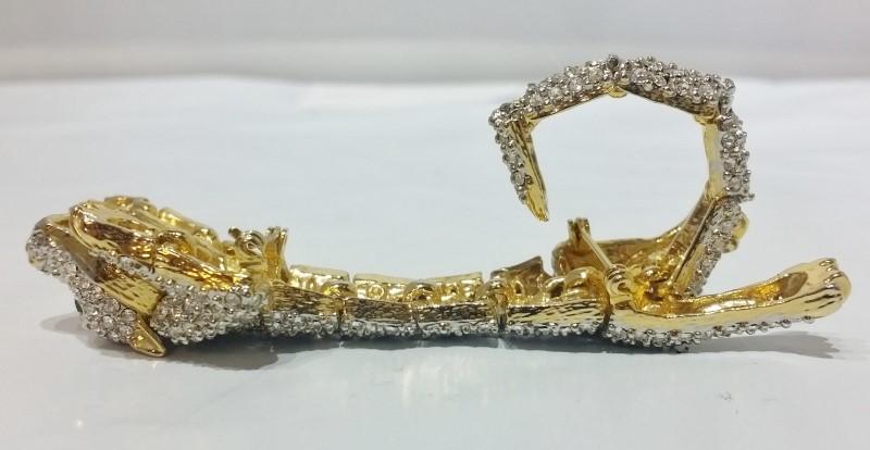 Gold Toned Rhinestone Encrusted Fully Articulating Cougar/Jaguar Pin/Brooch