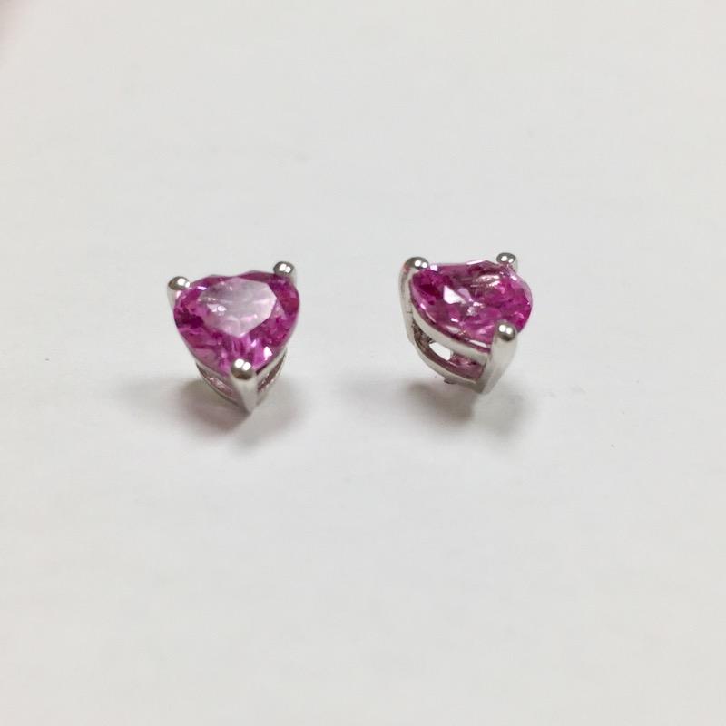 Pink Stone Silver-Stone Earrings 925 Silver 1.3dwt