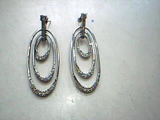 Synthetic Cubic Zirconia Silver-Stone Earrings 925 Silver 13.5g