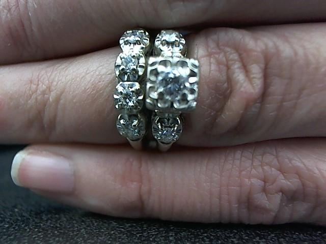 Lady's Diamond Wedding Set 7 Diamonds .35 Carat T.W. 14K White Gold 6g