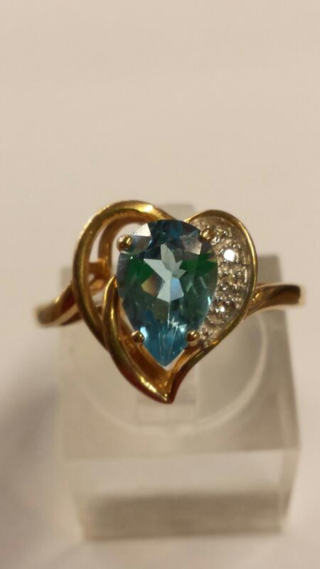 Blue Topaz Lady's Stone Ring 10K Yellow Gold 2.35dwt