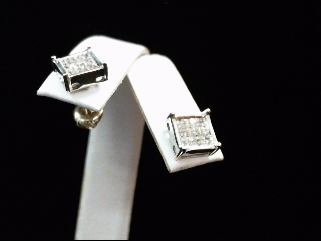 Gold-Diamond Earrings 72 Diamonds .72 Carat T.W. 14K White Gold 3g