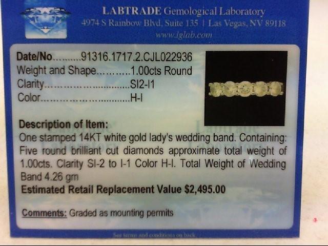 Lady's Diamond Wedding Band 5 Diamonds 1.00 Carat T.W. 14K White Gold 4.26g