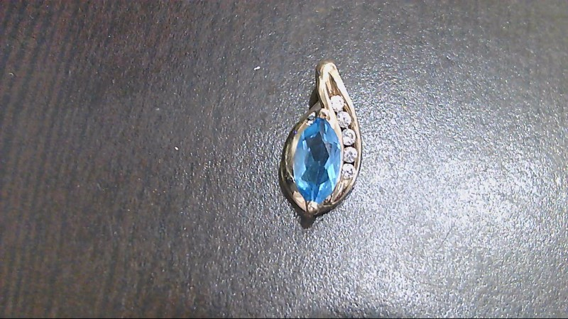 Synthetic Aquamarine Gold-Stone Pendant 10K Yellow Gold 1.9g