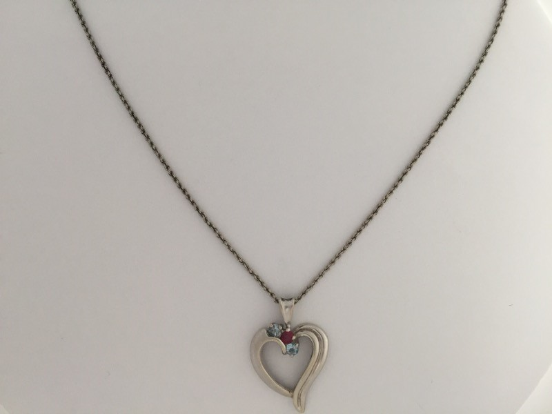 """Ruby Gold-Stone Pendant 14K White Gold with 16"""" braided 14kt wgld chain"""