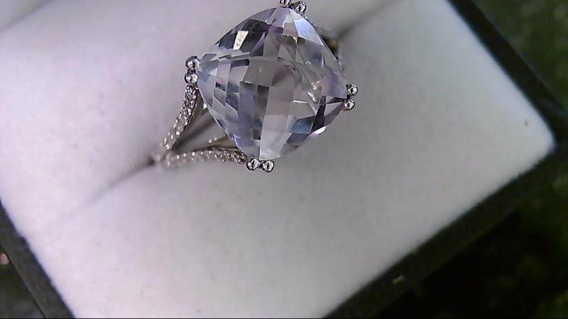 Lavender Ice Zirconia with Round Diamond Lady's White Gold Ring