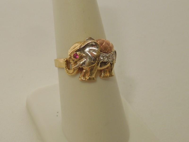 Synthetic Cubic Zirconia Lady's Stone Ring 10K Tri-color Gold 3.6g