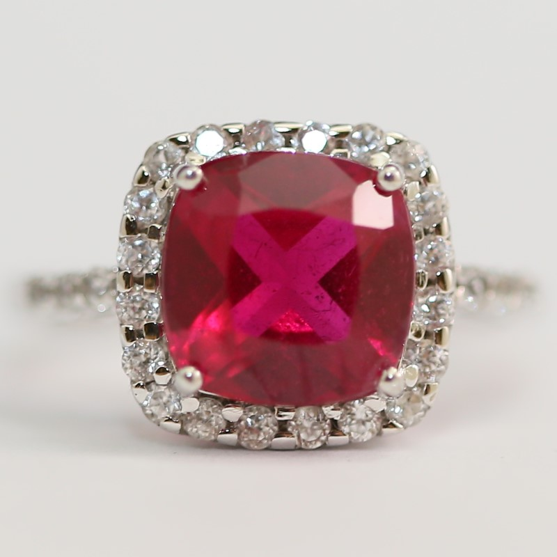 10K White Gold Cushion Ruby and Round Cubic Zirconia Ring Size 8.5