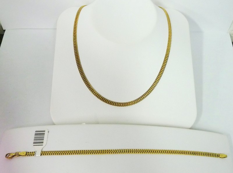 Gold Chain & Bracelet Set 14K Yellow Gold 22.59g
