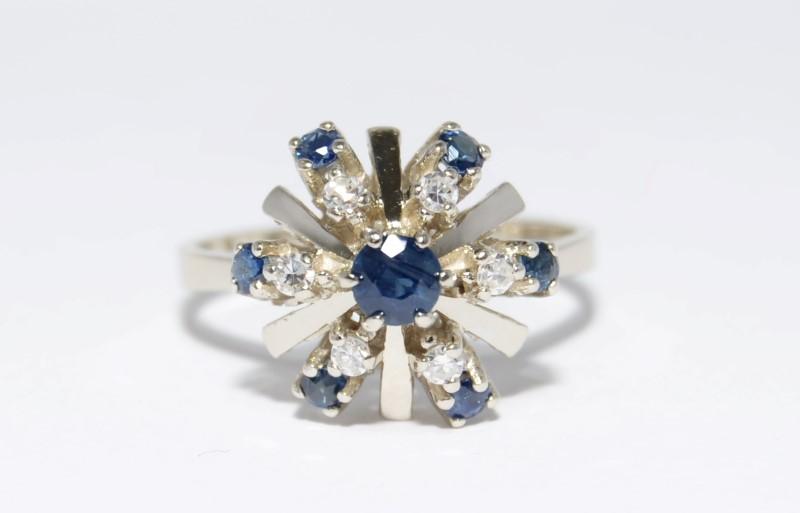 14K White Gold Sapphire & Diamond Christmas Bow Statement Ring sz 7.5