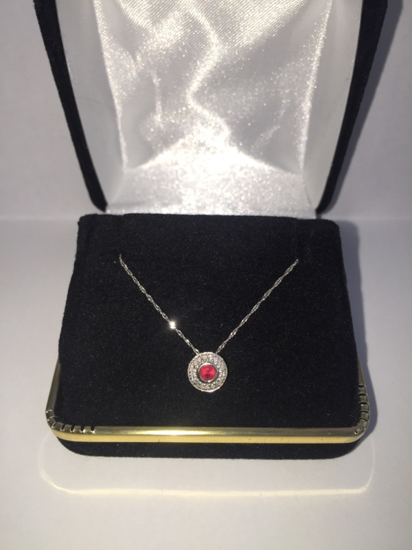 Ruby Gold-Diamond & Stone Pendant 20 Diamonds .20 Carat T.W. 14K White Gold
