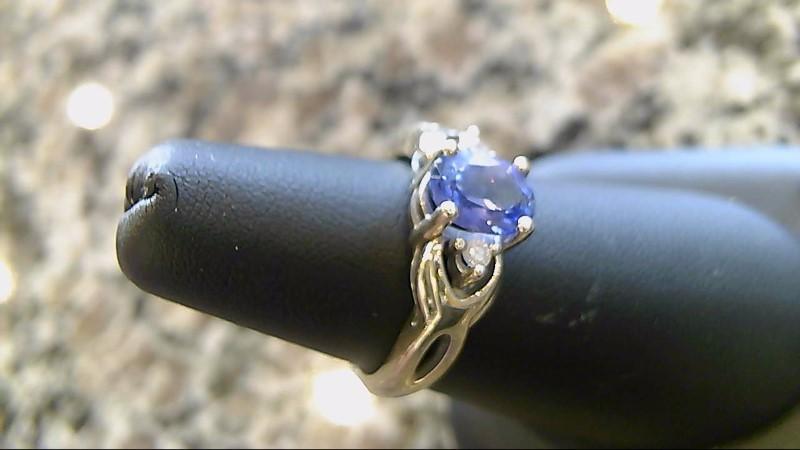 Blue Stone Lady's Stone & Diamond Ring 2 Diamonds .02 Carat T.W. 14K White Gold