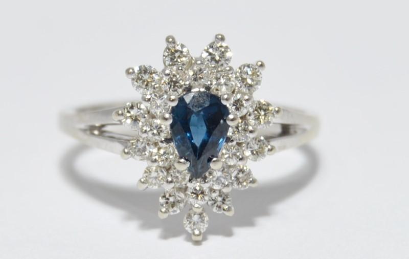 14K White Gold Split Shank Pear Sapphire & Diamond Cluster Ring Size 6.5