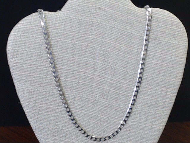 CURB CUBAN LINK NECKLACE CHAIN 14K WHITE GOLD ITALY 17.3g 5mm 22""