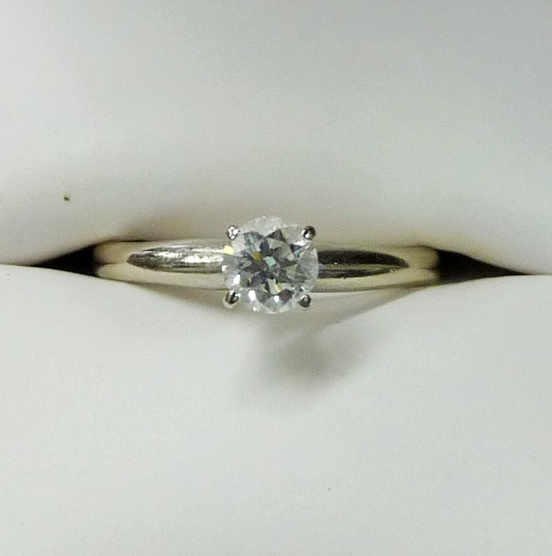 Lady's Diamond Solitaire Ring .40 CT. 14K White Gold 1.71dwt