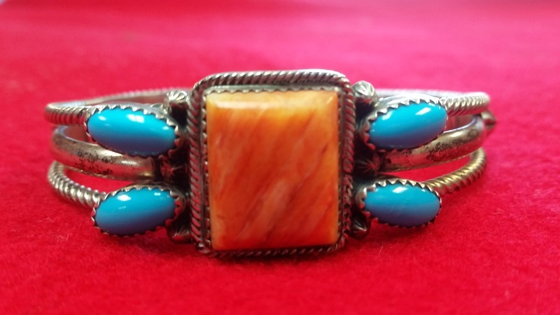 RB Sterling Native American Indian Turquoise Sterling Silver Bracelet