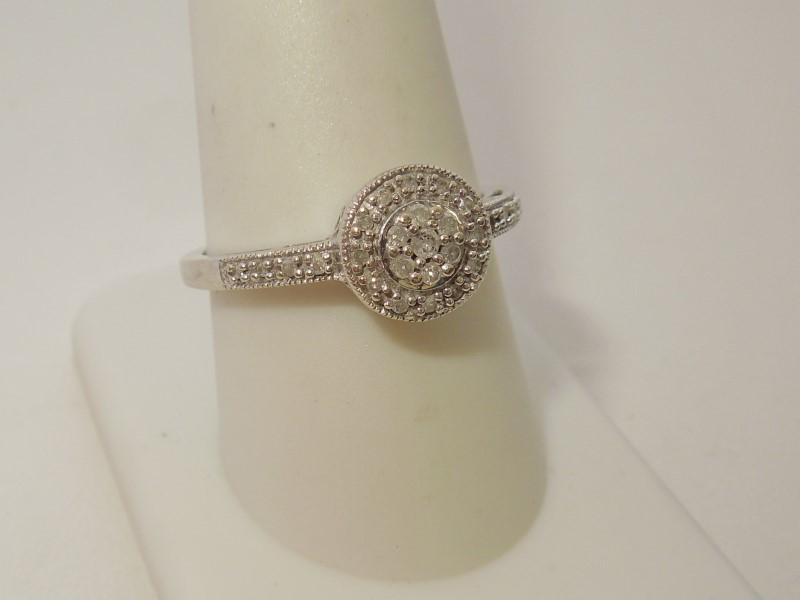 Lady's Diamond Cluster Ring 33 Diamonds .41 Carat T.W. 10K White Gold 2.8g