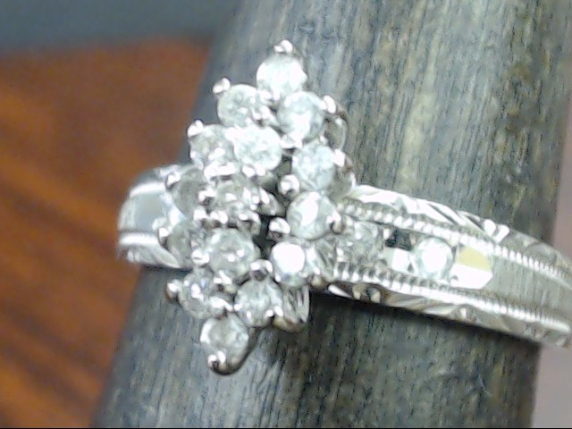 VINTAGE DIAMOND CLUSTER ENGAGE WED RING SOLID 10K WHITE GOLD SZ 6.25