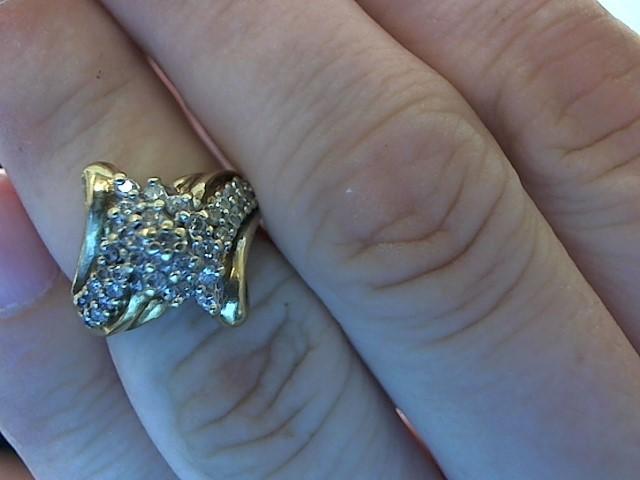 Lady's Diamond Cluster Ring 35 Diamonds .70 Carat T.W. 10K Yellow Gold 4.3g