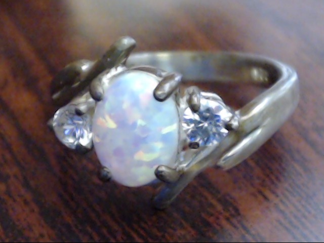 Synthetic Opal Lady's Silver & Stone Ring 925 Silver 2.9g Size:6