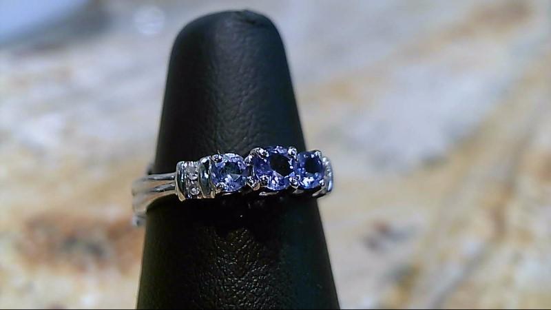 Tanzanite Lady's Stone Ring 10K White Gold 1.9g