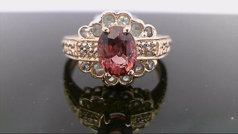 Pink Tourmaline Lady's Stone & Diamond Ring 6 Diamonds .030 Carat T.W.