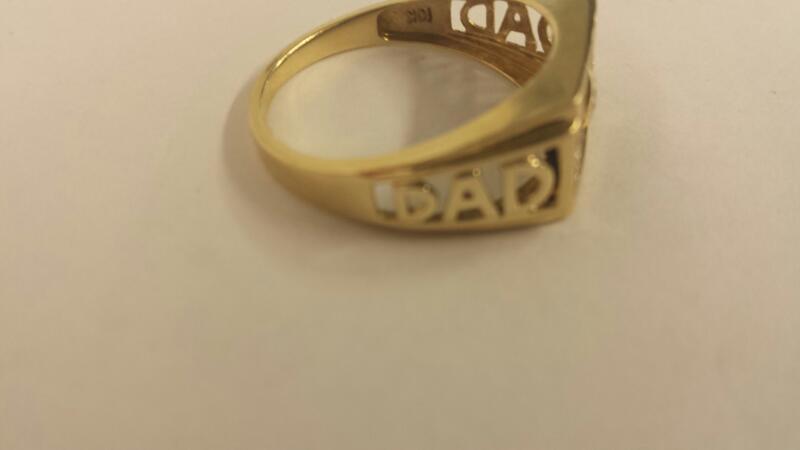"10K-Y/G Gts ""DAD"" Ring Onyx And Diamond Ring"