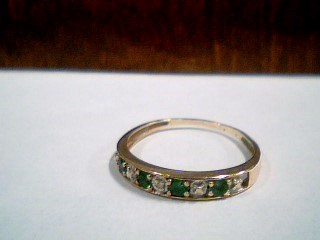 Synthetic Emerald Lady's Stone Ring 10K Yellow Gold 1.1g Size:7