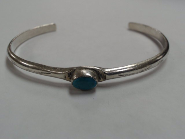 Synthetic Turquoise Silver-Stone Bracelet 925 Silver 9.9g