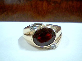 Synthetic Almandite Garnet Gent's Stone & Diamond Ring