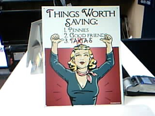 ACCESSORIES OTHER METAL SIGN CD-1811; SAVE THE TATAS