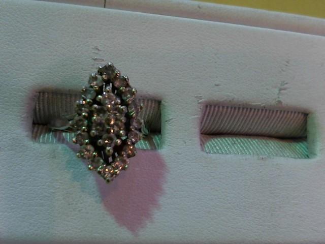 Lady's Diamond Cluster Ring 22 Diamonds 1.10 Carat T.W. 14K White Gold 3.2g