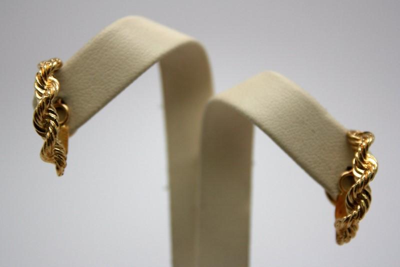 HALF HOOP TWISTED ROPE DESIGN EARRINGS  14K YELLOW GOLD