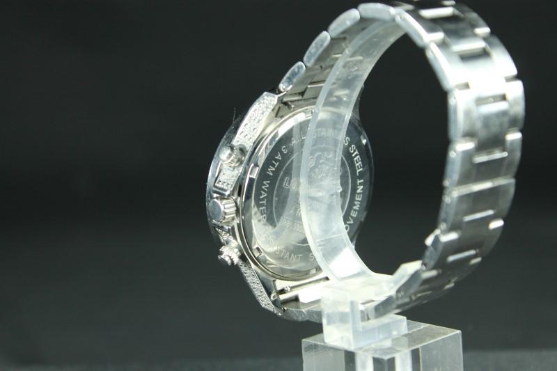 Luxurman Liberty Diamond Accented Stainless Steel Watch